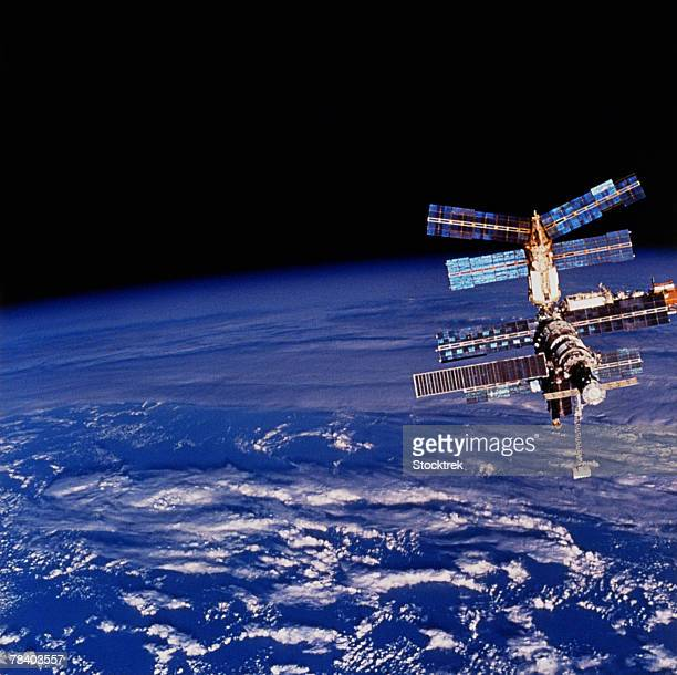 Mir Space Station floating above the Earth