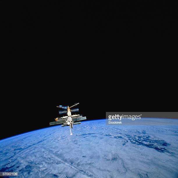 Mir Space Station Orbiting Earth