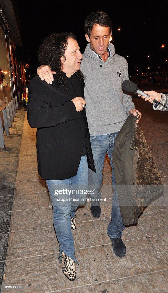 'Mira Quien Salta' contestant Alvaro Munoz Escassi (R) and Fortu are seen leaving 'El coso de las brasas' restaurant on March 12, 2013 in Madrid, Spain.