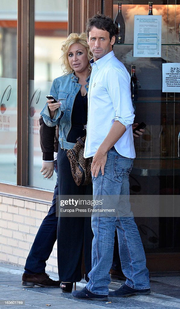 'Mira Quien Salta' contestant Alvaro Munoz Escassi and Raquel Mosquera are seen leaving 'El coso de las brasas' restaurant on March 12, 2013 in Madrid, Spain.