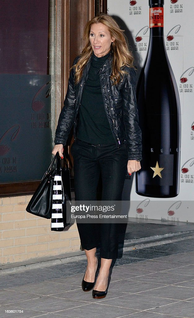 'Mira Quien Salta' contestant Monica Pont is seen leaving 'El coso de las brasas' restaurant on March 12, 2013 in Madrid, Spain.