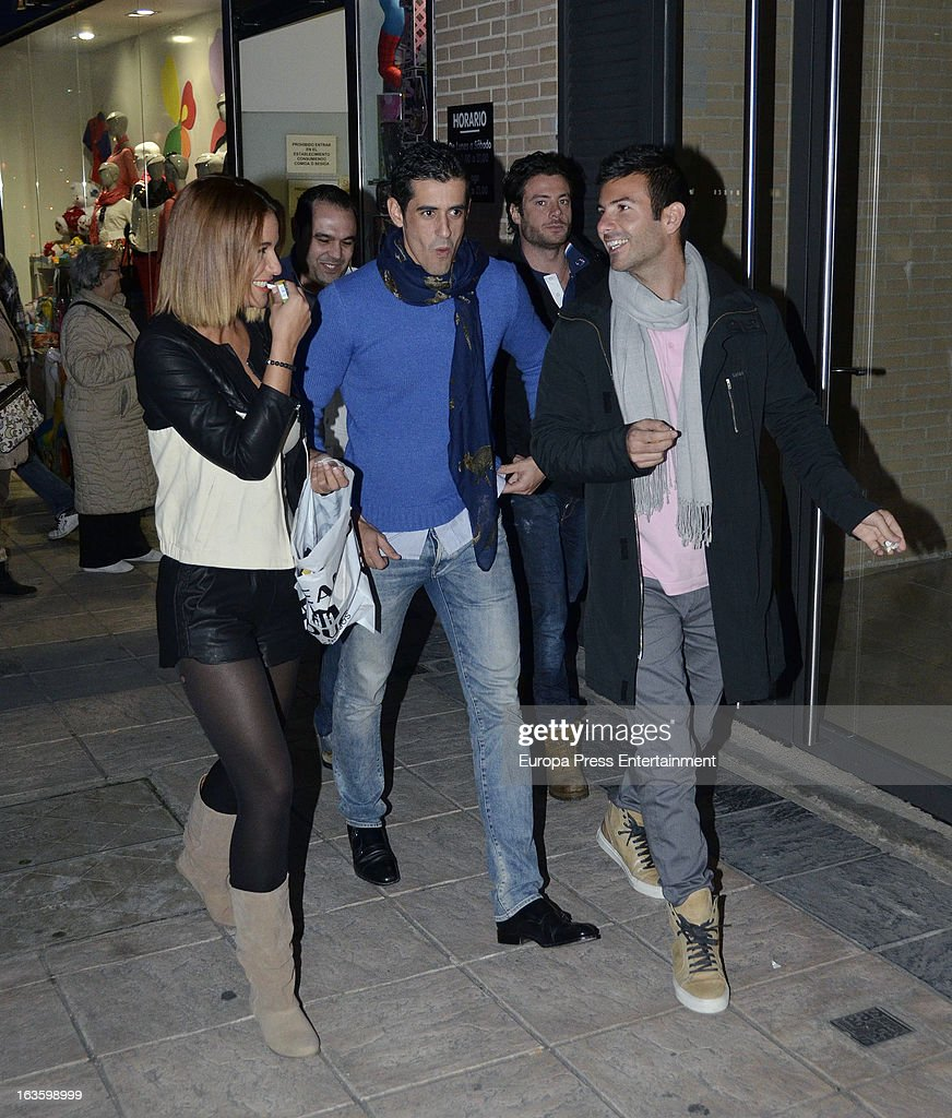 'Mira Quien Salta' contestant Tamara Gorro (L) and Victor Janeiro (C) are seen leaving 'El coso de las brasas' restaurant on March 12, 2013 in Madrid, Spain.