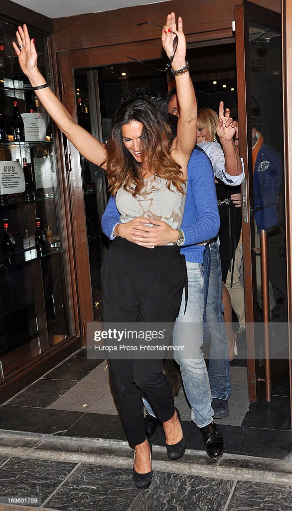 'Mira Quien Salta' contestant Veronica Hidalgo and Victor Janeiro are seen leaving 'El coso de las brasas' restaurant on March 12, 2013 in Madrid, Spain.