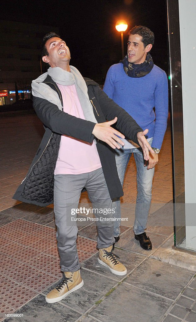 'Mira Quien Salta' contestant Victor Janeiro (R) is seen leaving 'El coso de las brasas' restaurant on March 12, 2013 in Madrid, Spain.