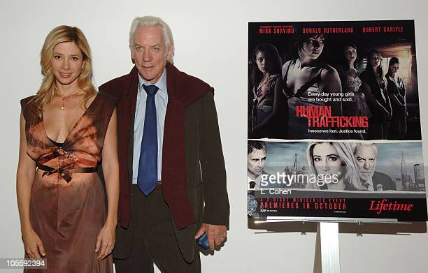 Mira Sorvino and Donald Sutherland during Lifetime Original Miniseries 'Human Trafficking' Screening at The Museum of Television and Radio in Beverly...
