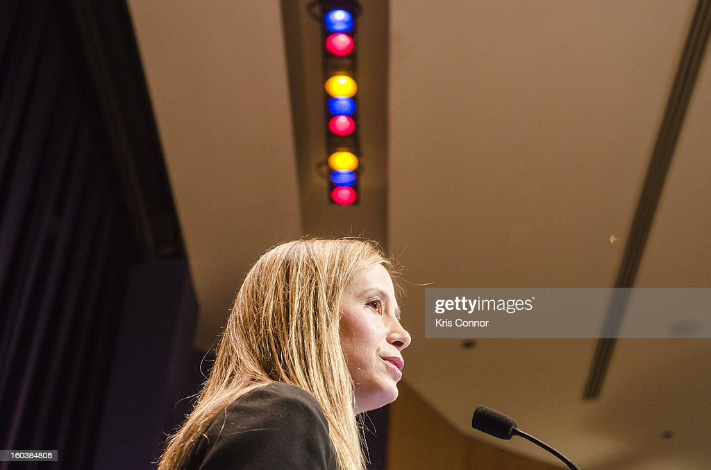 Mira Sorvino speaks during Georgetown University's Institute for the Study of International Migration forum on January 30, 2013 in Washington, DC.