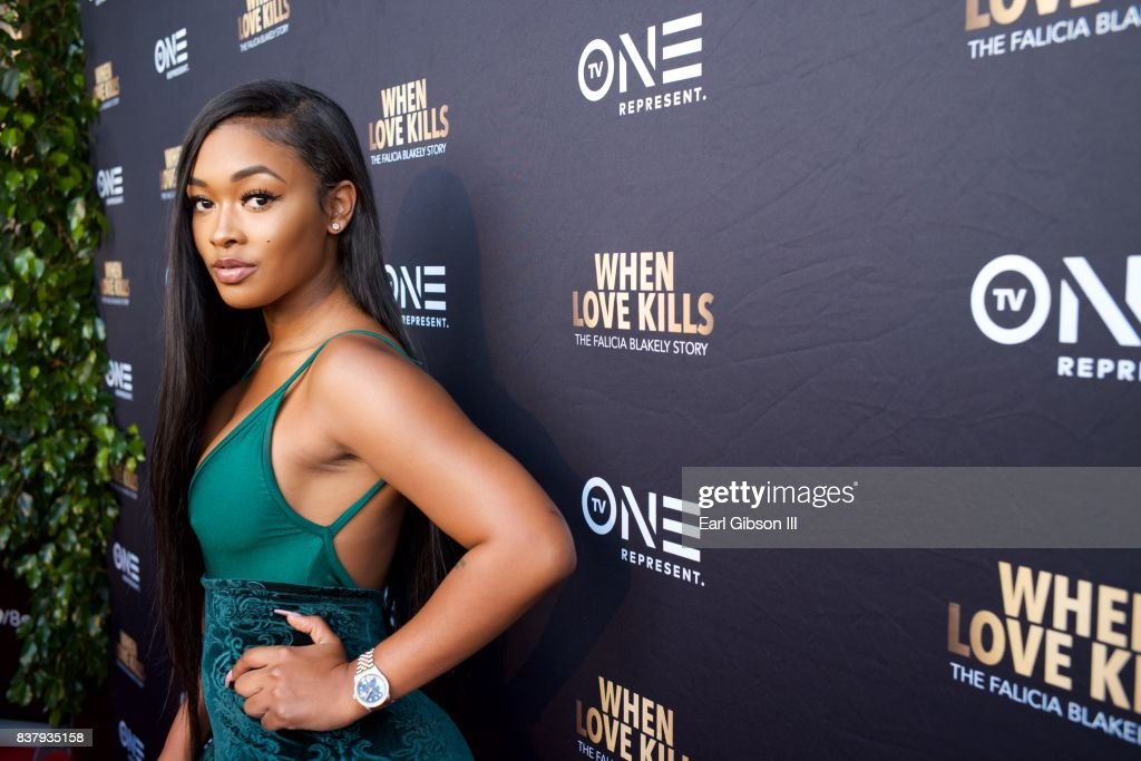 Miracle Watts attends the Premiere Of TV One's 'When Love Kills' at Harmony Gold on August 22, 2017 in Los Angeles, California.