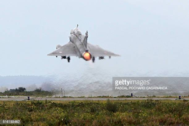 A Mirage 2000 fighter jet takes off during a military drill of the 'Serpentex' air forces with the participation of 12 Nations including 10 of the...
