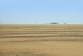 Libyan Desert scenery with distant mirage