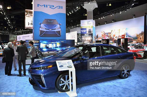 Mirai fuelcell vehicle is displayed at Toyota Motor Co booth at the 2014 Los Angeles Auto Show on November 19 2014 in Los Angeles California This...