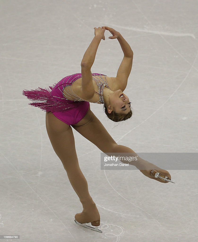 <a gi-track='captionPersonalityLinkClicked' href=/galleries/search?phrase=Mirai+Nagasu&family=editorial&specificpeople=4125421 ng-click='$event.stopPropagation()'>Mirai Nagasu</a> competes in the Ladies Pairs Short Program during the 2013 Prudential U.S. Figure Skating Championships at CenturyLink Center on January 24, 2013 in Omaha, Nebraska.