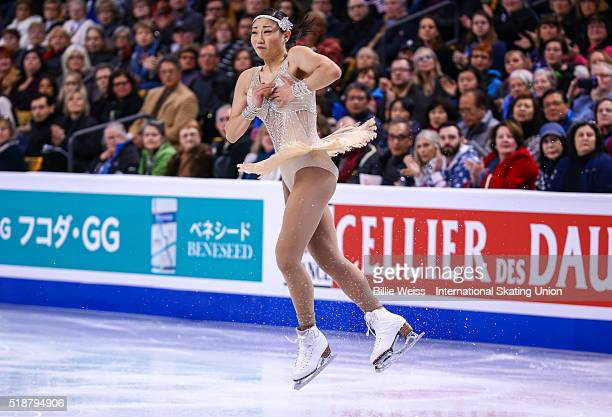 Mirai Nagasu of the United States competes during Day 6 of the ISU World Figure Skating Championships 2016 at TD Garden on April 2 2016 in Boston...