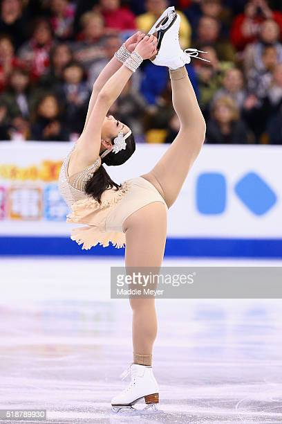 Mirai Nagasu of the United States skates in the Ladies Free Skate on Day 6 of the ISU World Figure Skating Championships 2016 at TD Garden on April 2...