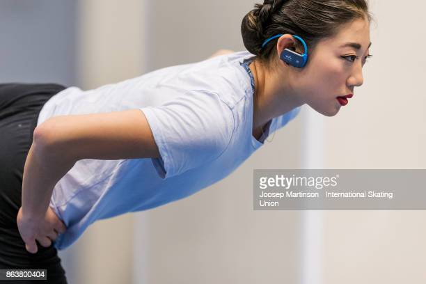 Mirai Nagasu of the United States warms up prior to the Ladies Short Program during day one of the ISU Grand Prix of Figure Skating Rostelecom Cup at...