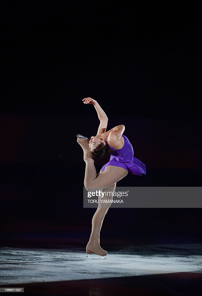 Mirai Nagasu of the US performs during an exhibition in the NHK Trophy, the last leg of the six-stage ISU figure skating Grand Prix series, in Rifu, northern Japan, on November 25, 2012. AFP PHOTO/Toru YAMANAKA