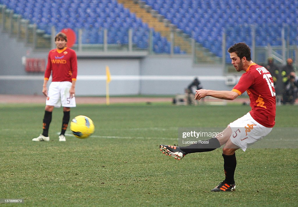 Mirale Pjanic of AS Roma scores a goal from the penalty spot during the Serie A match between AS Roma and Bologna FC at Stadio Olimpico on January 29, 2012 in Rome, Italy.