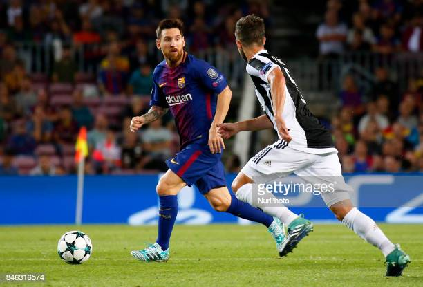 Miralem Pjanic and Leo Messi during Champions League match between FC Barcelona v RCD Juventus in Barcelona on September 12 2017