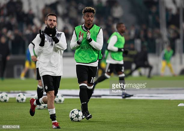 Miralem Pjanic and Mario Lemina during Champions League match between Juventus v Dinamo Zagreb in Turin on December 7 2016