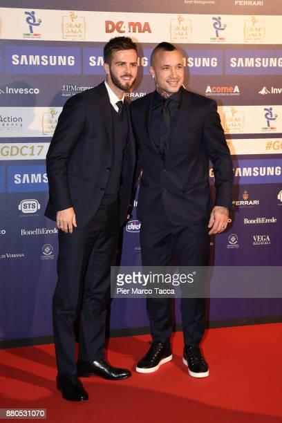 Miralem Pjanic and Radja Nainggolan attend the Gran Gala Del Calcio 2017 on November 27 2017 in Milan Italy