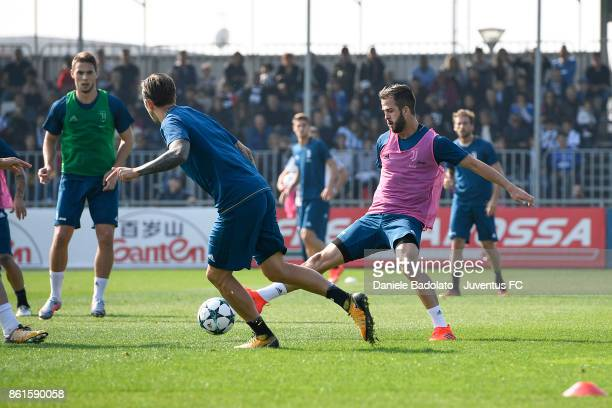 Miralem Pjanic during a Juventus traininig session at Juventus Center Vinovo on October 15 2017 in Vinovo Italy