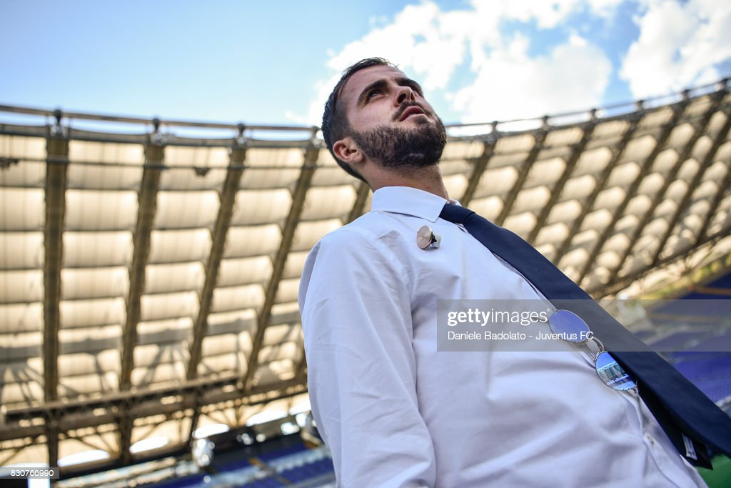 Miralem Pjanic during the Juventus Walk Around ahead of the Italian Supercup at Olimpico Stadium on August 12, 2017 in Rome, Italy.