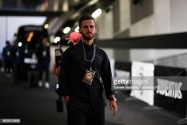 Miralem Pjanic during the UEFA Champions League group D match between Juventus and Olympiakos Piraeus at Allianz Stadium on September 27 2017 in...