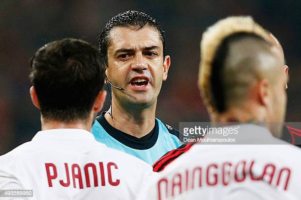 Miralem Pjanic of AS Roma appeals to referee Viktor Kassai during the UEFA Champions League Group E match between Bayer 04 Leverkusen and AS Roma at...