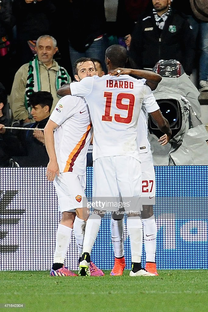 Miralem Pjanic # 15 of AS Roma celebrats after scoring his team's third goal during the Serie A match between US Sassuolo Calcio and AS Roma on April 29, 2015 in Reggio nell'Emilia, Italy.