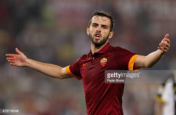 Miralem Pjanic of AS Roma gestures during the Serie A match between AS Roma and Udinese Calcio at Stadio Olimpico on May 17 2015 in Rome Italy