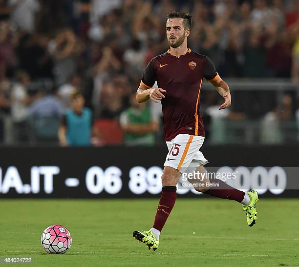 Miralem Pjanic of AS Roma in action during the preseason friendly match between AS Roma and Sevilla FC at Olimpico Stadium on August 14 2015 in Rome...