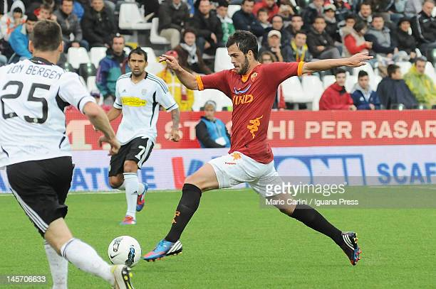 Miralem Pjanic of AS Roma in action during the Serie A match between AC Cesena and AS Roma at Dino Manuzzi Stadium on May 13 2012 in Cesena Italy