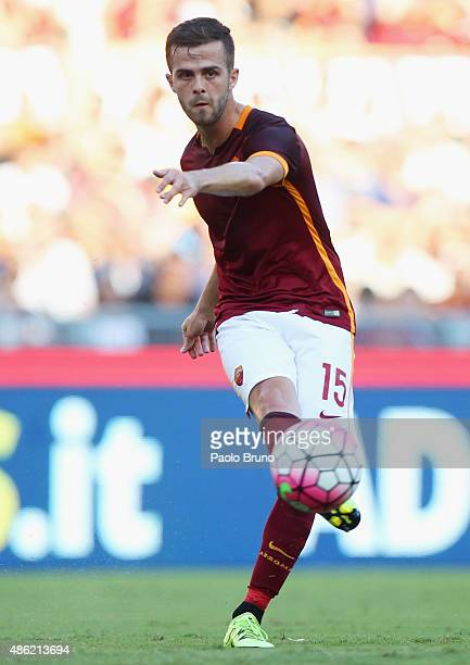 Miralem Pjanic of AS Roma in action during the Serie A match between AS Roma and Juventus FC at Stadio Olimpico on August 30 2015 in Rome Italy