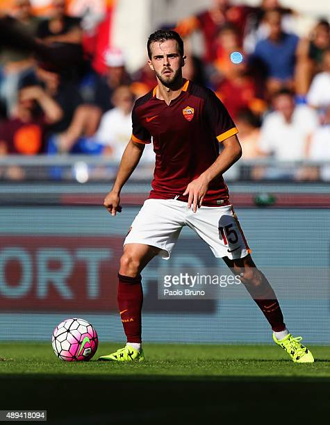 Miralem Pjanic of AS Roma in action during the Serie A match between AS Roma and US Sassuolo Calcio at Stadio Olimpico on September 20 2015 in Rome...