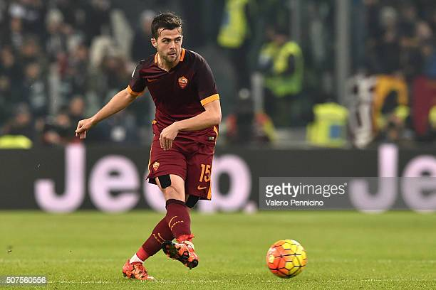 Miralem Pjanic of AS Roma in action during the Serie A match between Juventus FC and AS Roma at Juventus Arena on January 24 2016 in Turin Italy
