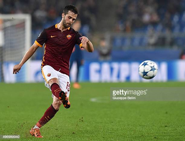 Miralem Pjanic of AS Roma in action during the UEFA Champions League Group E match between AS Roma and Bayer 04 Leverkusen at Olimpico Stadium on...