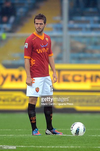 Miralem Pjanic of AS Roma looks on during the Serie A match between AC Cesena and AS Roma at Dino Manuzzi Stadium on May 13 2012 in Cesena Italy
