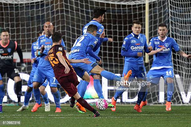 Miralem Pjanic of AS Roma scores a goal during the Serie A match between Empoli FC and AS Roma at Stadio Carlo Castellani on February 27 2016 in...