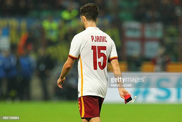 Miralem Pjanic of AS Roma walks off after getting a red card during the Serie A match between FC Internazionale Milano and AS Roma at Stadio Giuseppe...