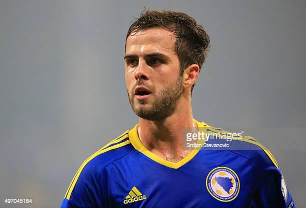 HERZEGOVINA NOVEMBER 13 Miralem Pjanic of Bosnia looks on during the EURO 2016 Qualifier PlayOff First Leg match at Bilino Polje Stadium on November...