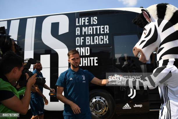 Miralem Pjanic of Juventus A looks on ahead the preseason friendly match between Juventus A and Juventus B on August 17 2017 in Villar Perosa Italy