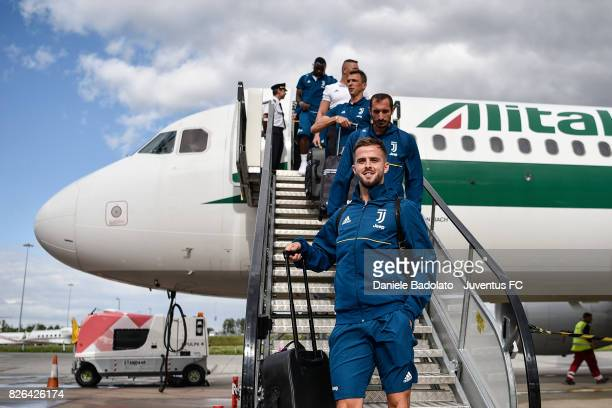 Miralem Pjanic of Juventus arrives on August 4 2017 in London United Kingdom