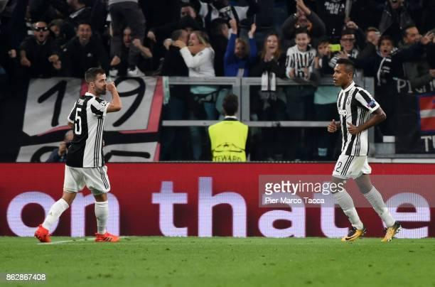 Miralem Pjanic of Juventus celebrates his first goal during the UEFA Champions League group D match between Juventus and Sporting CP at Juventus...