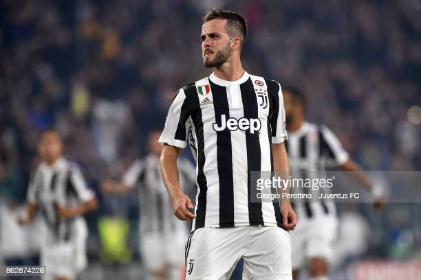 Miralem Pjanic of Juventus celebrates his goal during the UEFA Champions League group D match between Juventus and Sporting CP at Allianz Stadium on...
