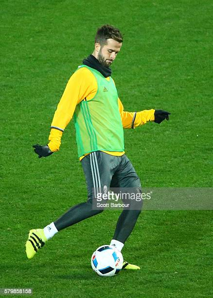 Miralem Pjanic of Juventus controls the ball during a Juventus FC training session at AAMI Park on July 25 2016 in Melbourne Australia