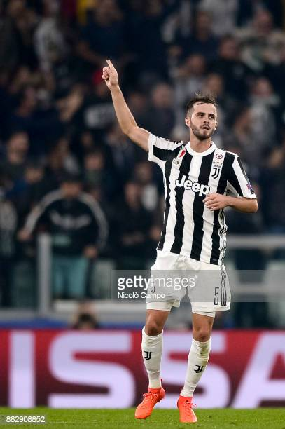 Miralem Pjanic of Juventus FC celebrates after scoring a goal during the UEFA Champions League football match between Juventus FC and Sporting CP...