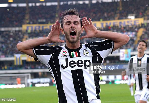 Miralem Pjanic of Juventus FC celebrates after scoring his team's second goal during the Serie A match between AC ChievoVerona and Juventus FC at...