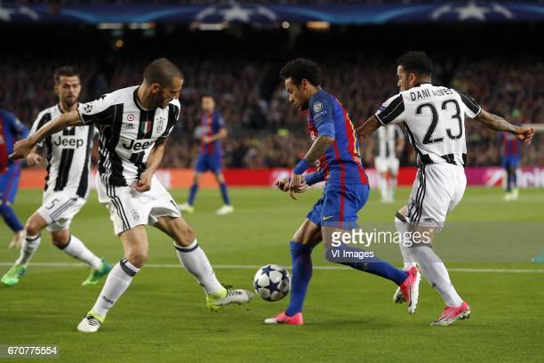 Miralem Pjanic of Juventus FC Giorgio Chiellini of Juventus FC Neymar of FC Barcelona Dani Alves of Juventus FCduring the UEFA Champions League...