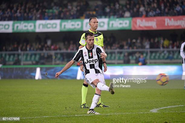 Miralem Pjanic of Juventus FC in action during the Serie A match between AC ChievoVerona and Juventus FC at Stadio Marc'Antonio Bentegodi on November...