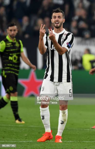 Miralem Pjanic of Juventus gestures during the UEFA Champions League group D match between Juventus and Sporting CP at Juventus Stadium on October 18...
