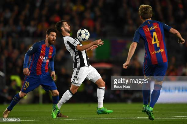 Miralem Pjanic of Juventus in action during the UEFA Champions League Quarter Final second leg match between FC Barcelona and Juventus at Camp Nou on...